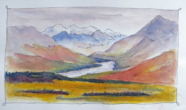 """South Fork Sketch"" 5"" x 8.5"" original watercolor and ink sketch"
