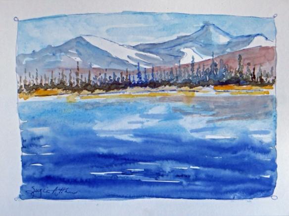 "Lake at Mile 143, 7"" x 9"" $50.00"