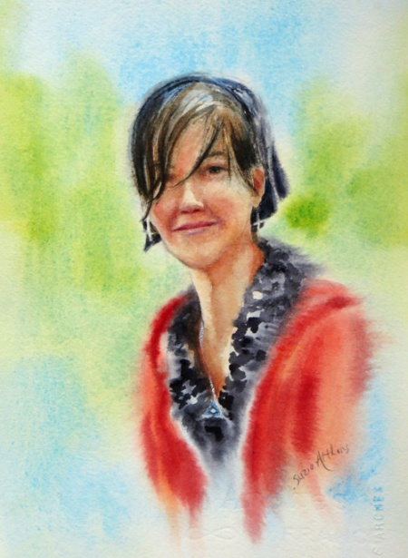 """Laura"" 10.5"" x 7"" watercolor"
