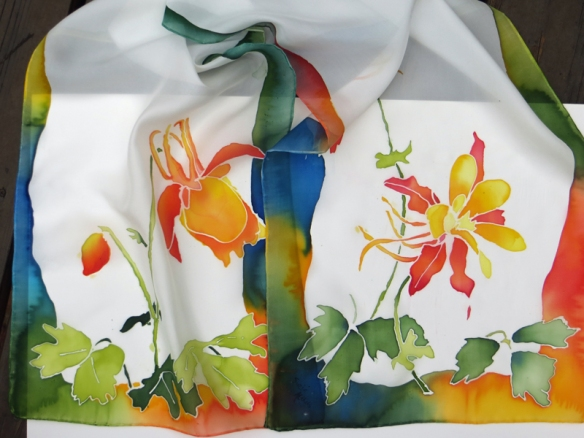 Columbine on silk